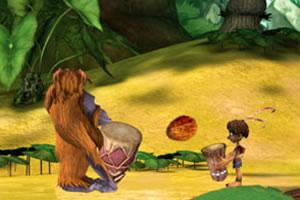 原始人接水果