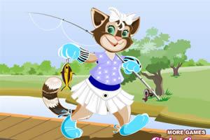 美丽猫咪钓鱼