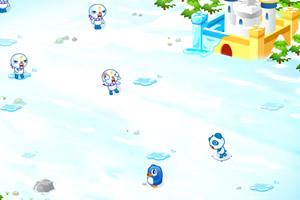 动物和怪物的雪战