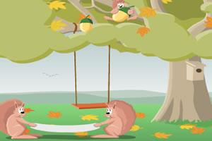 小松鼠摘松果