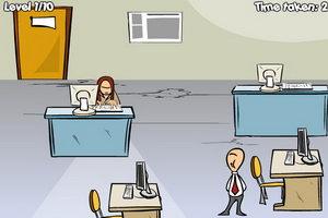 偷懒员工逃出办公室