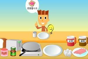 煎蛋肠吐司早餐