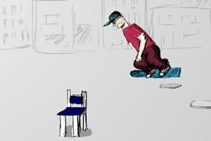 滑板技巧男孩