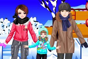 滑雪家庭的装扮