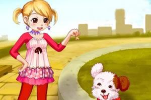 可爱女孩与小狗