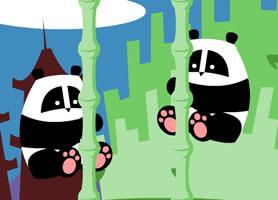 熊猫爬竹子