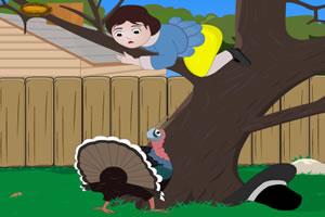 怕火鸡的小女孩