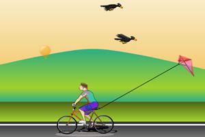 骑车放风筝
