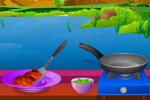 烹饪香辣鸡块