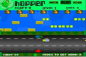 青蛙穿行马路过河