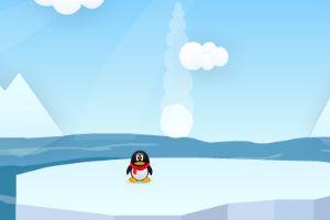 企鹅躲雪球