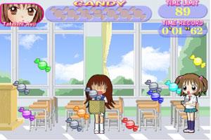 女孩接糖果