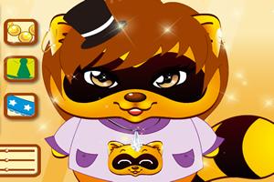 可爱浣熊装扮