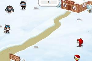 与怪物打雪战