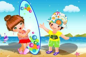小朋友海边冲浪