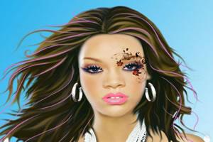 给蕾哈娜化妆