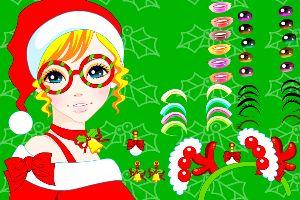 女孩圣诞精心装扮
