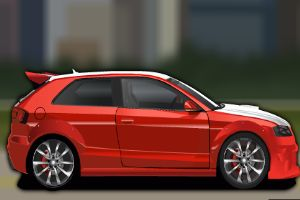 红色的小汽车