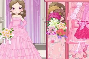 粉红色的新娘装扮
