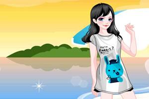 可爱T恤女孩
