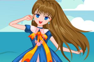 海滩漂亮女孩