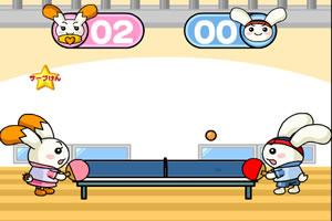 萌兔打乒乓球