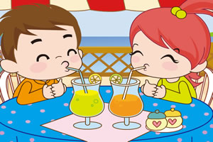 小情侣喝果汁PK