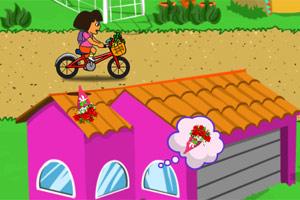朵拉自行车送花