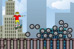 城市滑板玩耍