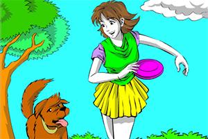 女孩和宠物狗