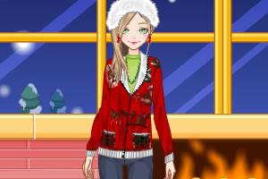 女孩的圣诞毛衣