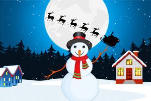 圣诞节堆雪人