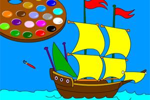 给小帆船上色