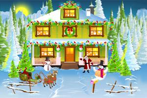 布置圣诞屋外景