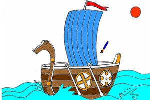 维京船填色