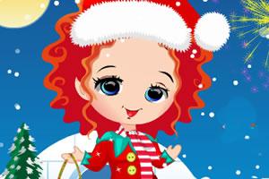 女孩和圣诞雪人