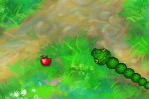 绿蛇吃苹果