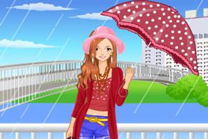 撑雨伞的女孩