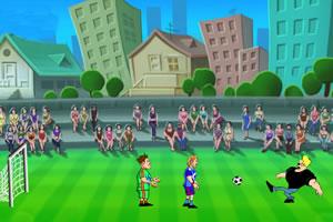 肌肉男踢足球