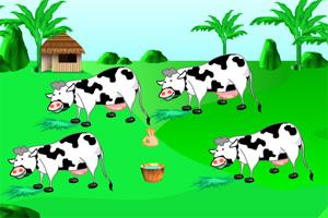 农场挤牛奶