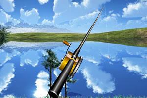 高山湖边钓鱼