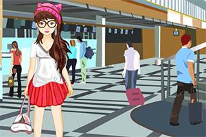 在机场的女孩
