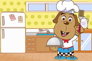 可爱的小狗厨师