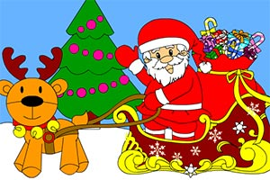 圣诞画卷填颜色