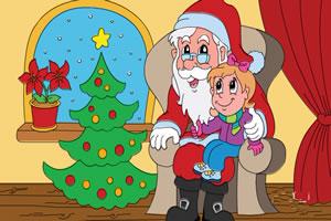 为圣诞老人与小孩上色