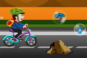 聪明男孩骑自行车