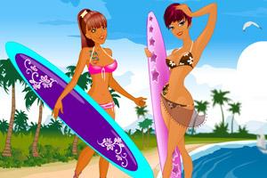 夏季冲浪女生