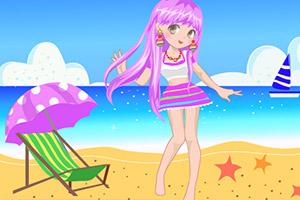 可爱海滩女生