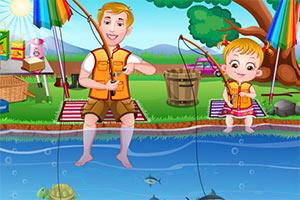 可爱宝贝学钓鱼