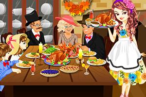 幸福的感恩节晚餐